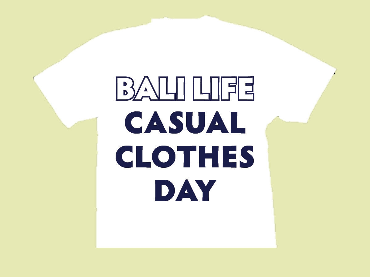White tshirt with words Bali Life Casual Clothes Day