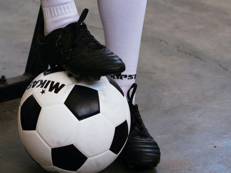 Soccer ball and soccer boots