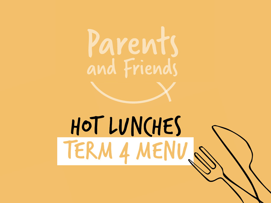 Yellow graphic with words 'Hot Lunches'