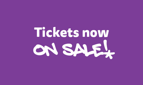 Purple graphic with Tickets on sale
